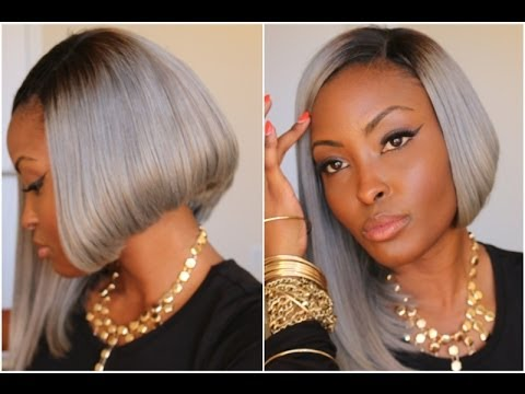 ASSYMETRICAL STRAIGHT GREY-BOB HAIRCUT FOR BLACK WOMEN