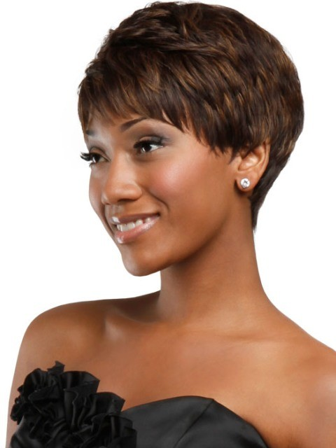 African American Pixie Wigs With Short Bangs