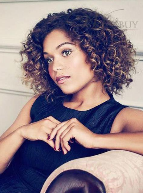 Elegante Fashionable Short Curly Lace Front Synthetic Wig