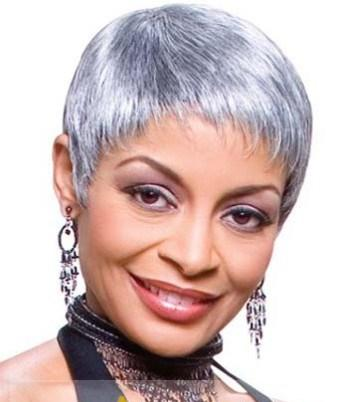 SHORT STRAIGHT GREY-BOB HAIRCUT FOR BLACK WOMEN