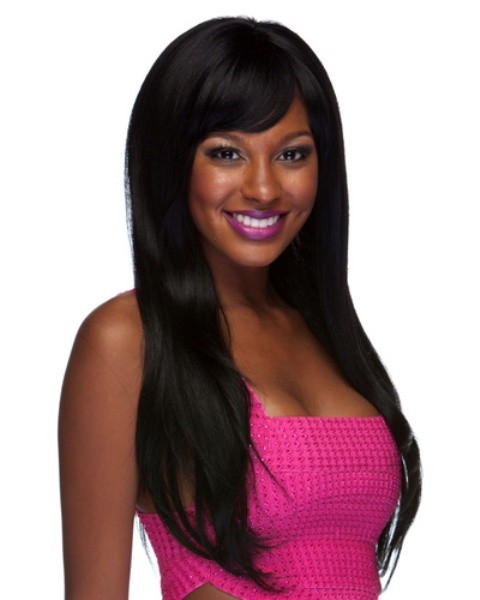 Straight African American Human Hair Blend Wigs