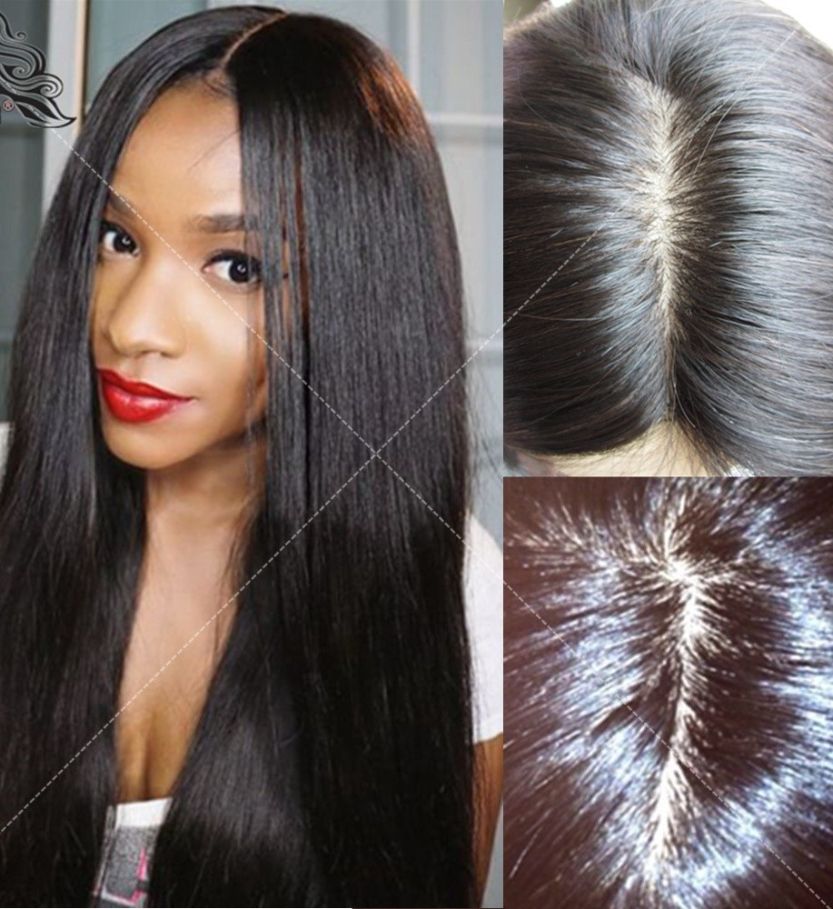 Straight Silk-Top Lace Wigs for Black Women