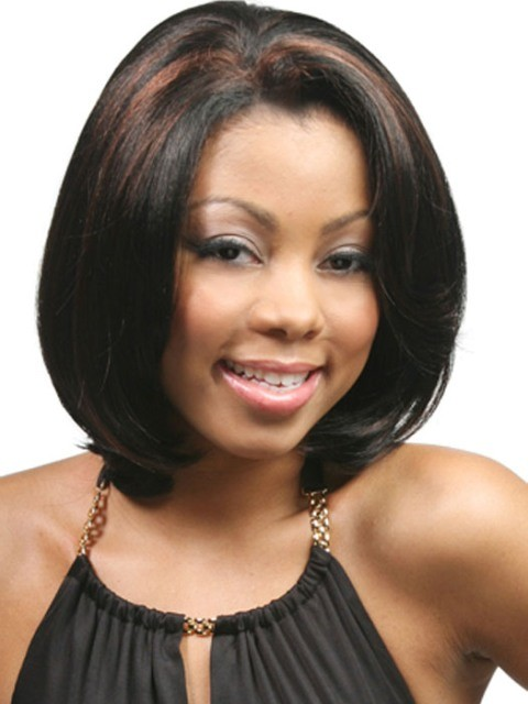 BEST MEDIUM BOB PUSH STAIGHT HAIRSTYLE FOR BLACK WOMEN
