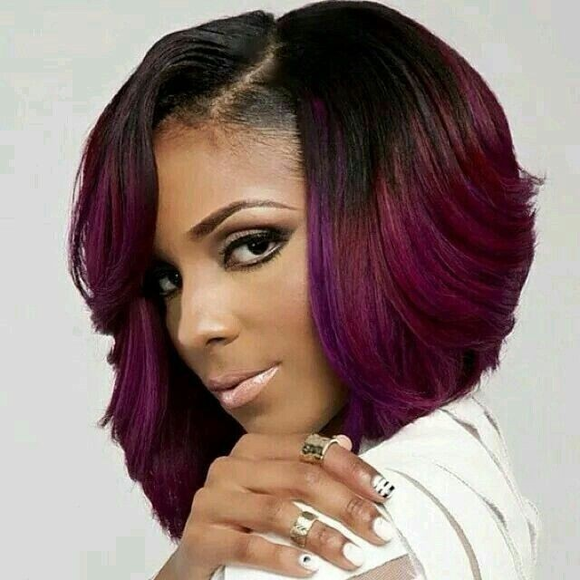 BEST MEDIUM HAIRTSTYLE THICK WITH HIGHLIGHTS FOR BLACK WOMEN