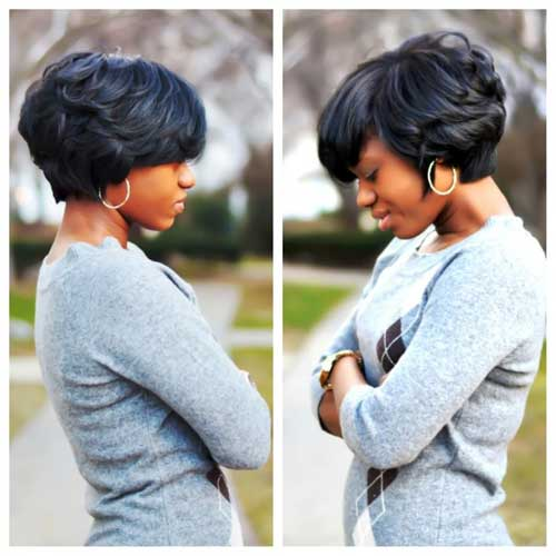 Tremendous Short Haircut for Thick Hair African American Wavy