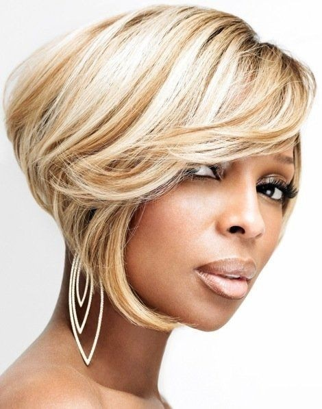 5 Most Inspiring Short Straight white Blonde on Side Swept Bangs Hairstyle African American women
