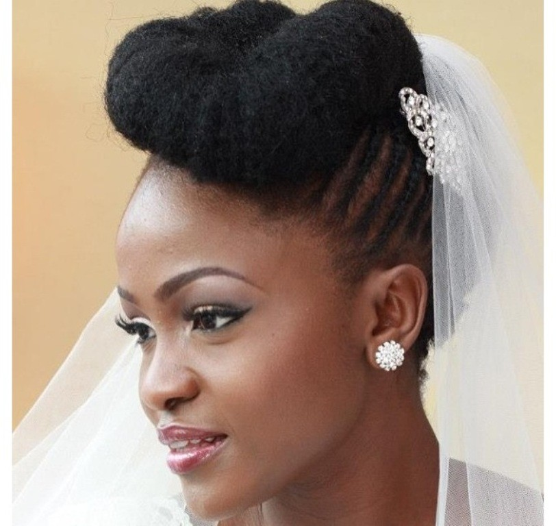 Best Natural Up Do Wedding Hairstyle For Black Women