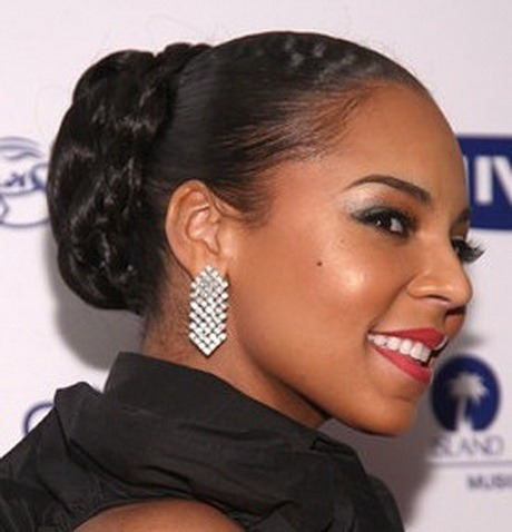 Best Wedding Braided Bun at the back of neck hairstyle for Black Women