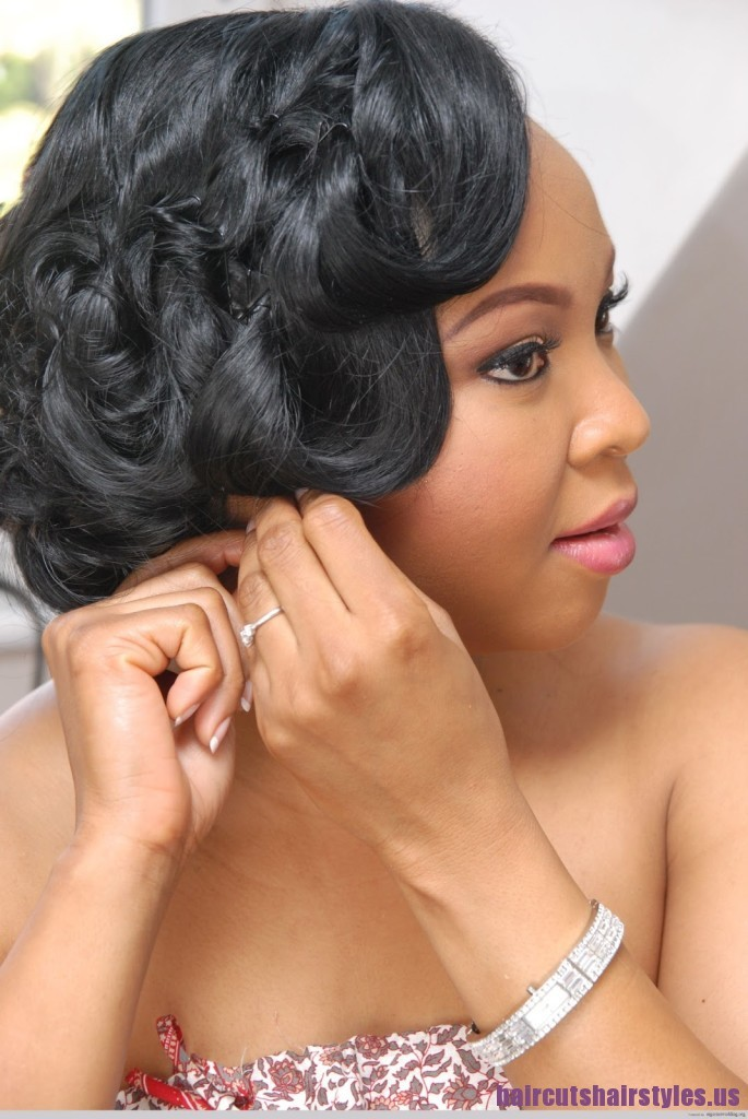 Best Wedding Long Hairstyle Pinned on sides for Black Women
