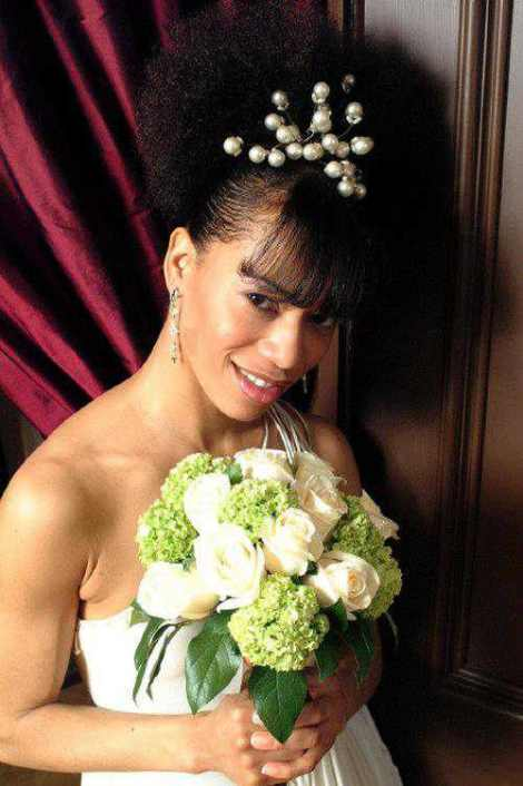 Best Wedding Medium Curly Natural hair with added piece for Bangs