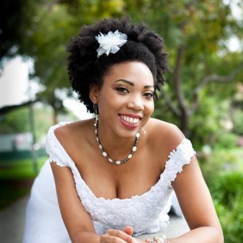 Best Wedding Natural Short Curly Hairstyle for Black Women