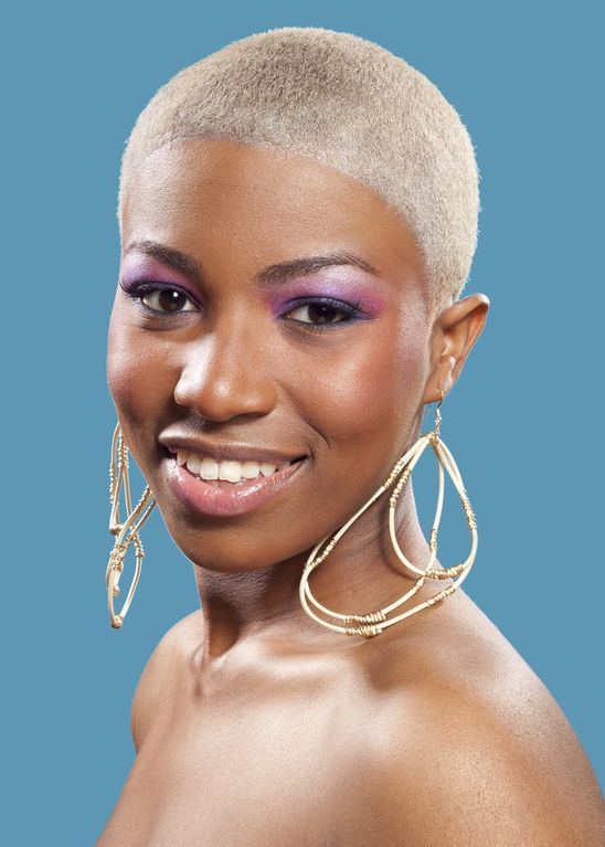 Inspiring Short Bald White Blonde Haircut African American