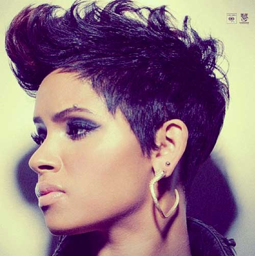 Short Haircut for Long Faces purple colored African American
