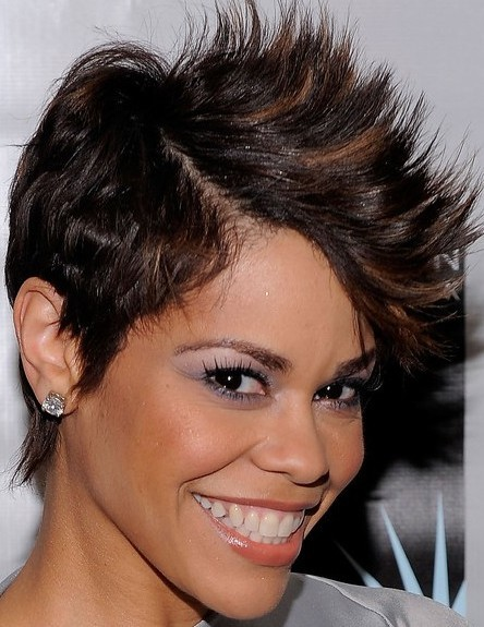 Short Haircut for Long faces Sassy colored African American