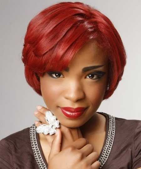 Tremendous Red Short Bob Haircut African American