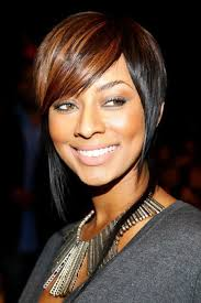 Adorable short two way color haircut long face African American