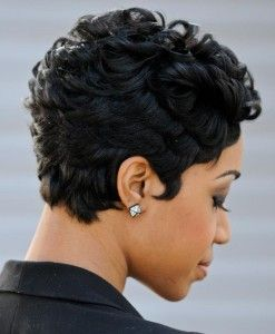 Awesome short layered Afro haircut African American