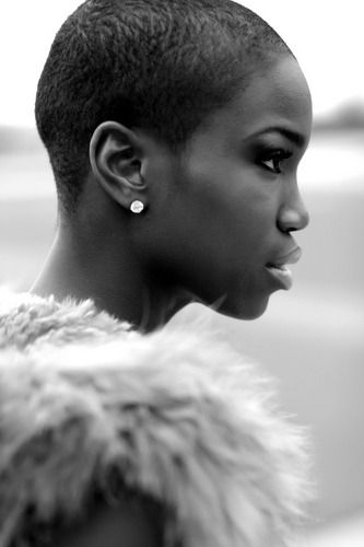 Dazzling short almost bald natural haircut for girls African American