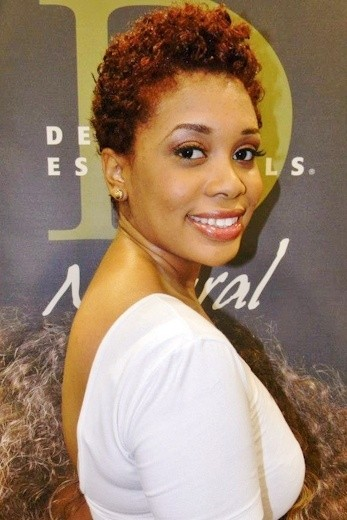 Gorgeous short afro colored haircut African American