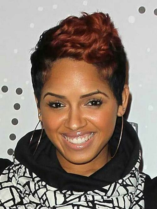 Incredible short two way color haircut round face African American