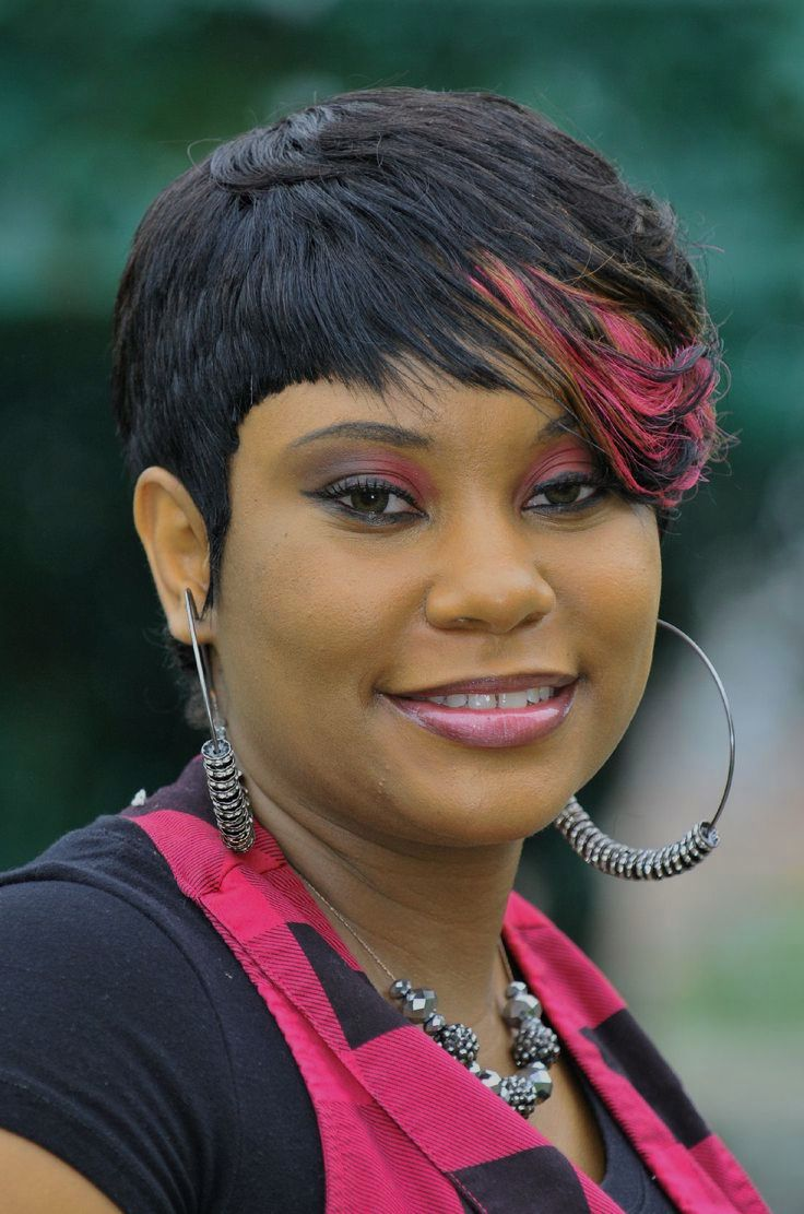 Stunning short haircut one side long plus size African American