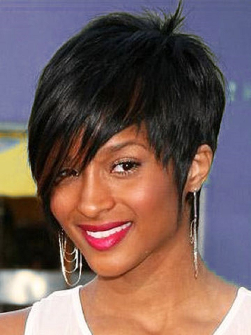Beautiful short haircut girls oval face African American