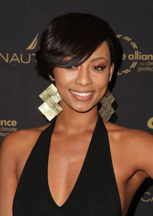 Beautiful short haircut long bangs oval face African American
