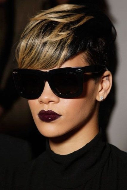 Captivating Short Wavy Mohawk Haircut with highlights African American