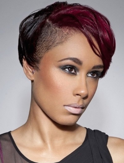 Captivating short Mohawk Red haircut with highlights African American
