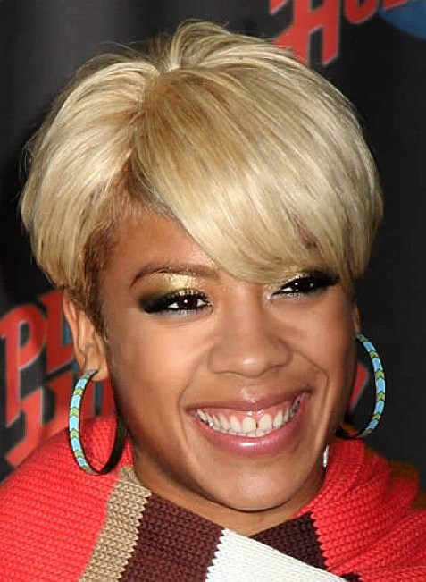 Incredible Blonde short haircut full bangs African American