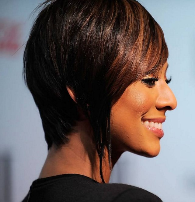 Short Bob haircut with highlights African American at 40