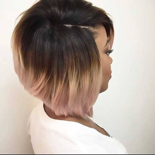 Short bob haircut colored African American at 40