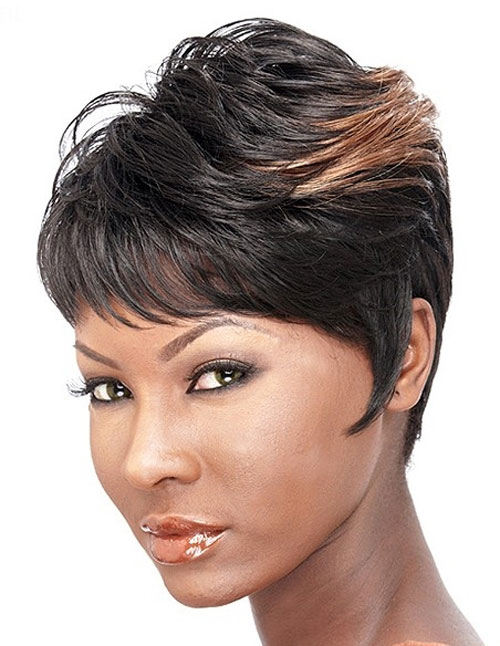 Short sassy haircut African American layered