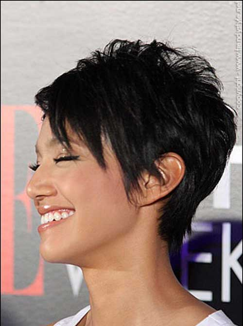 Short sassy haircut African American long faces