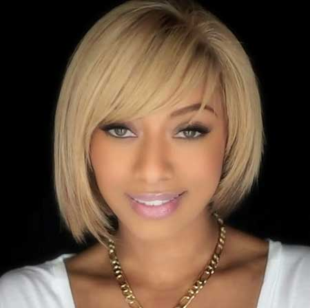 Short white blonde Bob Haircut African American