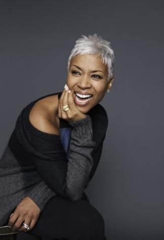 Super short haircut white blonde for women in 50 African American