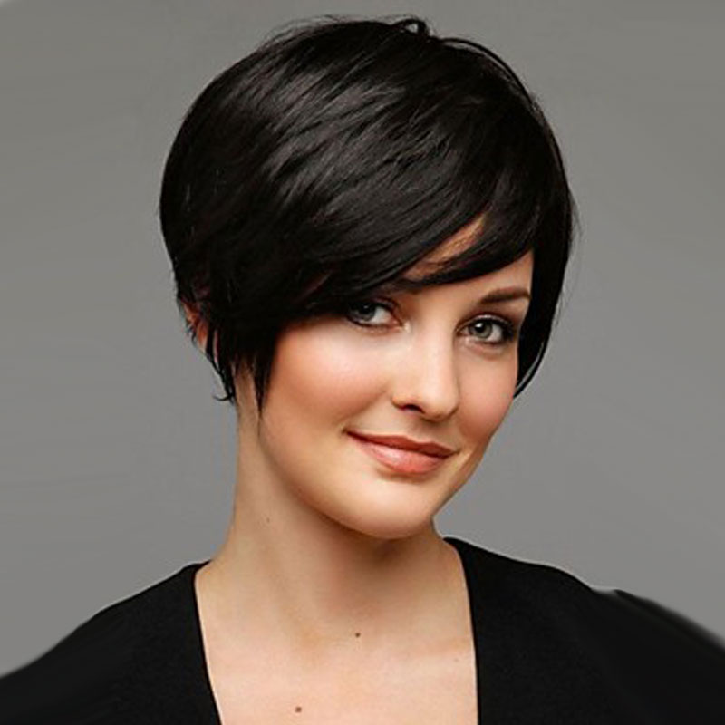 Touching short pixie haircut layered African American