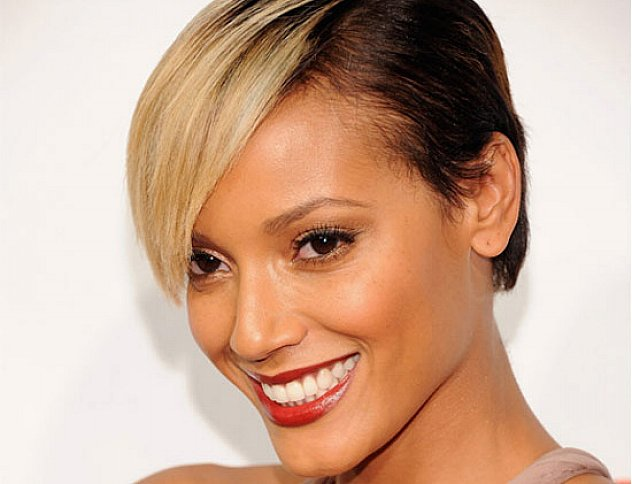 Trendiest short blonde haircut long face African American
