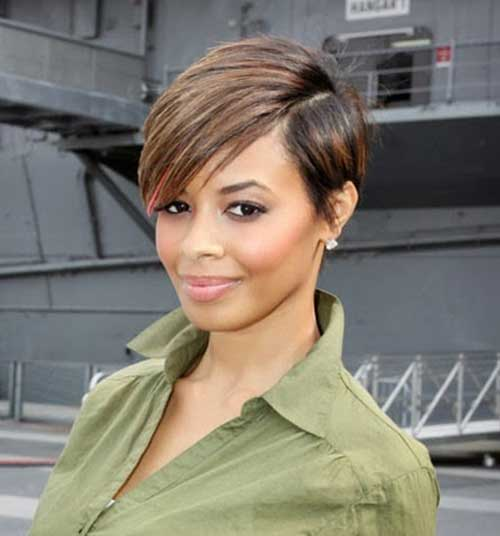 Trendiest short blonde haircut with line on sides African American