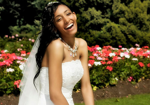 Amazing wedding long curly hairstyle black women