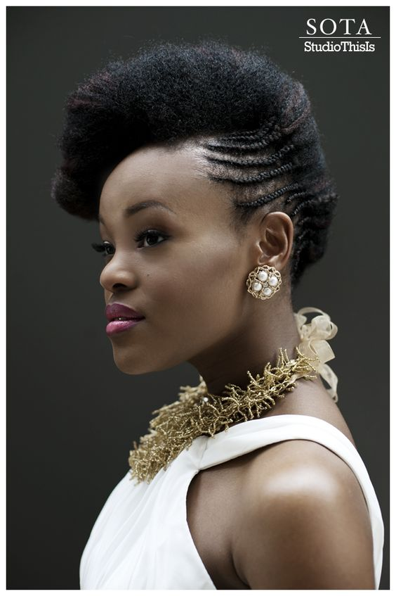 Breathtaking oval face cornrow and natural wedding hairstyle black women