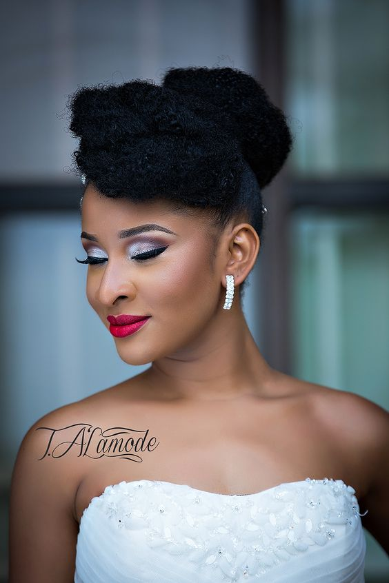 Exquisitely natural curly up do wedding black women