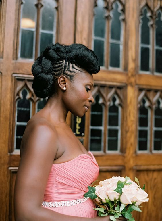 Exquisitely Natural Up Do Wedding Hairstyle Black Women