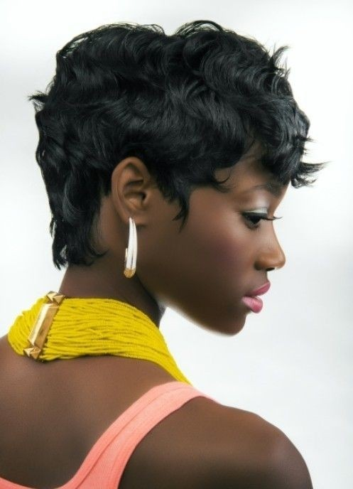 Short thick wavy haircut African American Girls