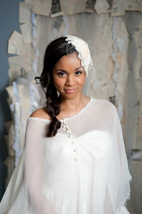 Touching loose fish tail wedding hair black women