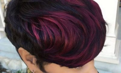 Haircut and color for African American girls –with purple highlights