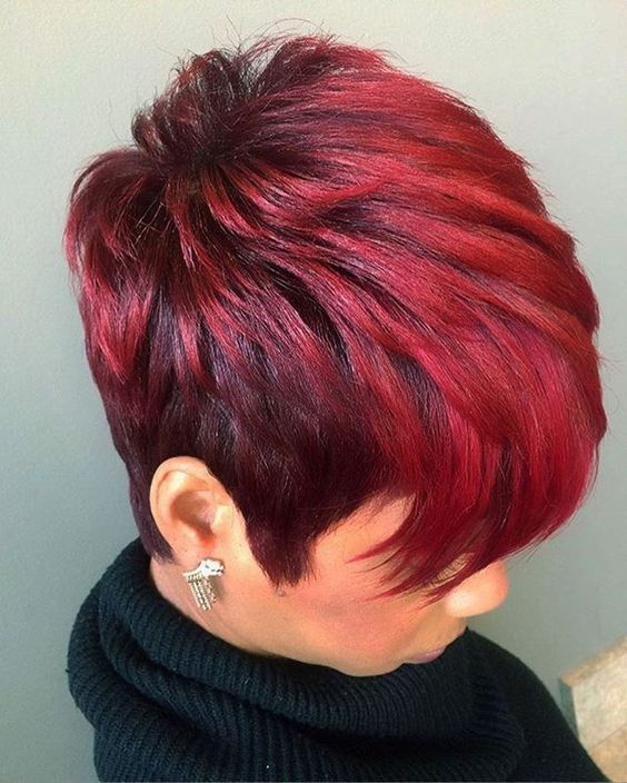 Haircut and color for African American girls-red