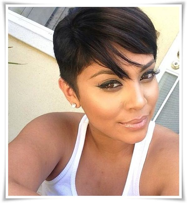 Latest short haircut for African American girls -side swept bangs