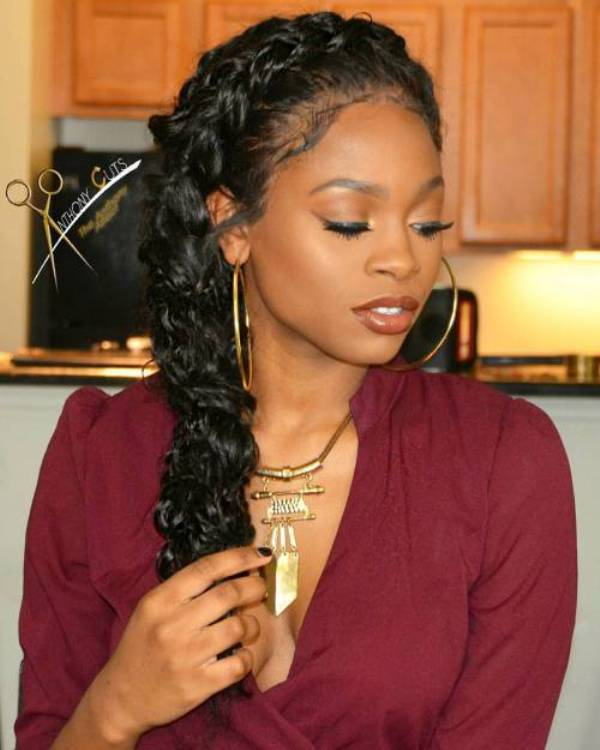 Messy black fish tail braided hairstyles