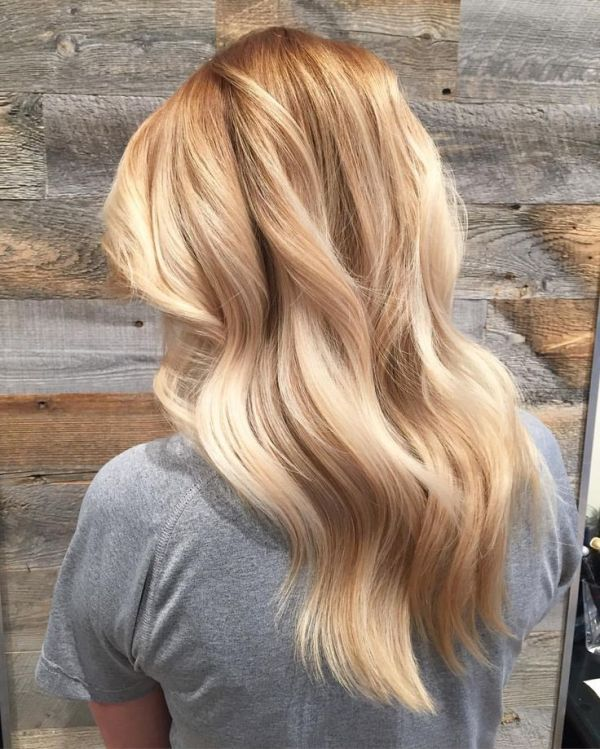 Honey Blonde & Caramel Balayage Hair Color Idea